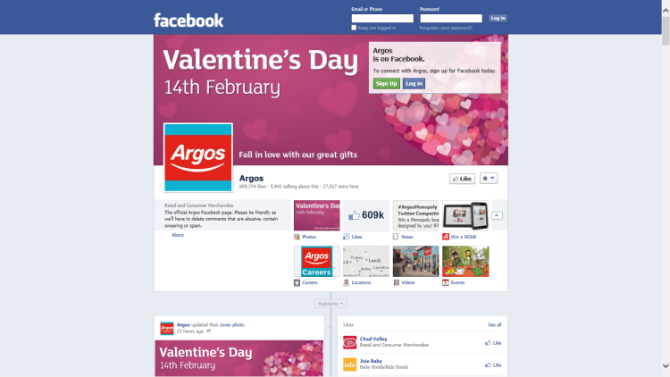 ~An Argos Facebook page - demonstrating an on-line presence.